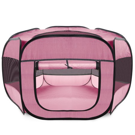 Paws & Pals Playpen for Pets Puppy, Dog, Cat Guinea Pig, Rabbit - Portable Pop Up Exercise Kennel Tent Indoor/Outdoor Pen - Foldable Travel Ready w/Carry Bag