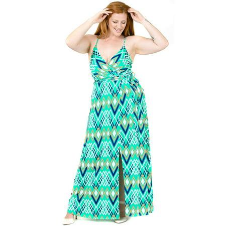 Fourever Funky - Plus Size Cami Strap Chevron Print Faux Wrap Maxi Dress  U.S.A. Mint - 3X - Walmart.com