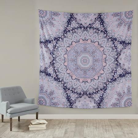 Mainstays Purple Medallion Oversized Microfiber Woven Tapestry