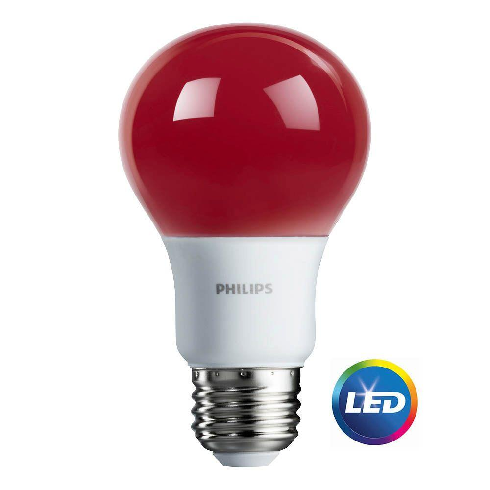 Philips LED Light Bulb, A19, Red, 60 WE