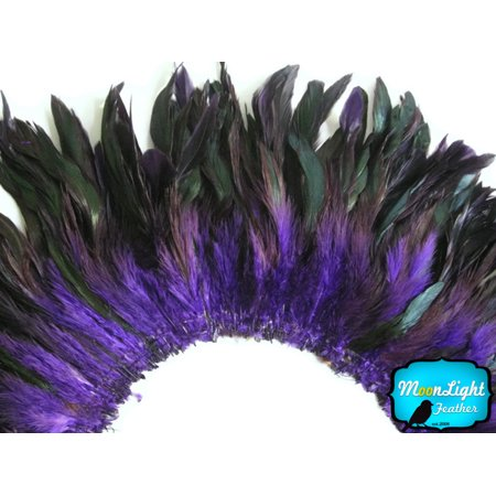 1 Yard - Purple Half Bronze Strung Rooster Schlappen Wholesale Feathers - Purple Feather