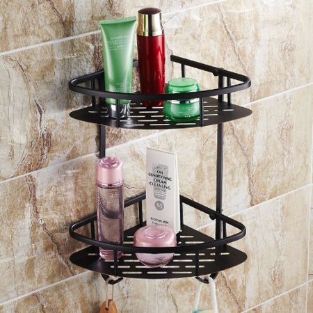 Rozin® Oil Rubbed Bronze Solid Brass Wall Mounted Dual Tier Corner Bracket Bathroom Storage Shelf Shower Caddy Cosmetics Holder with Towel Bar