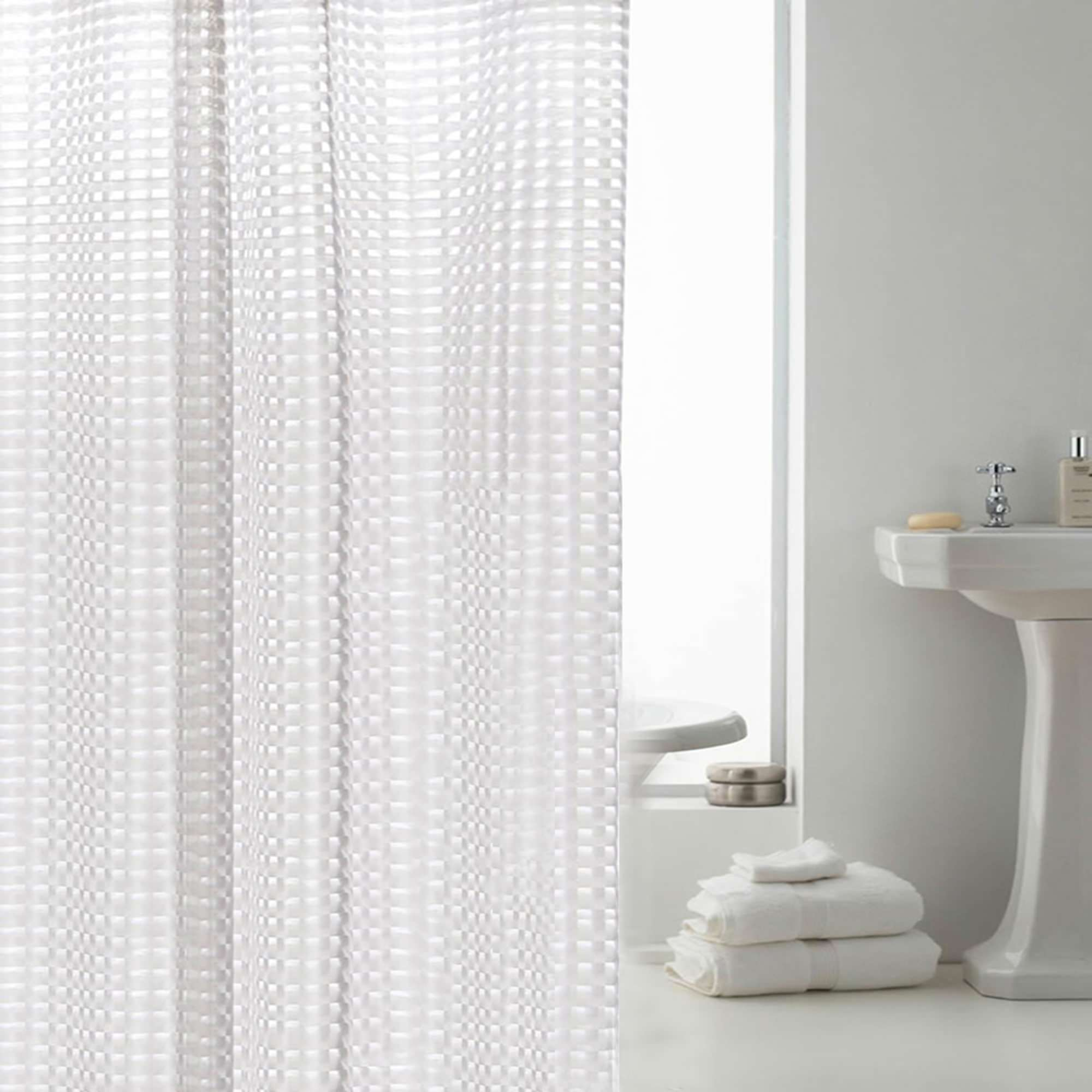 "Mildew-Free EVA Shower Curtain,3D Cube Effect,72""x72"""