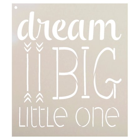 Dream Big Little One Stencil with Arrows by StudioR12 | Inspiration Nursery Word Art | Childs Room Boy Girl | - Reusable Mylar Template | Use for Painting Wall Art, - Girl With Out Dress With Boy