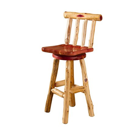 Furniture Barn Usa Rustic Red Cedar Log Swivel Bar Stool With Back