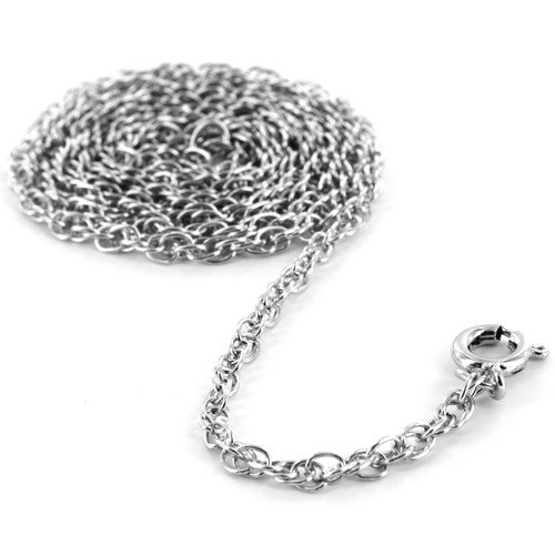 West Coast Jewelry Rhodium Plated Rope Chain