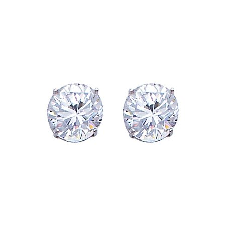 Unisex Stud 2.5 Carat Round Simulated Diamonds Solitaire Real 14k White Gold Earrings Screw -