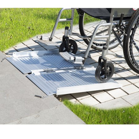 Jaxpety 2FT Aluminum Foldable Wheelchair Scooter Mobility Ramp Portable w/Carry Handle