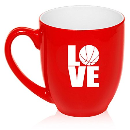 16 oz Large Bistro Mug Ceramic Coffee Tea Glass Cup Love Basketball (Red) Basket Large Mug