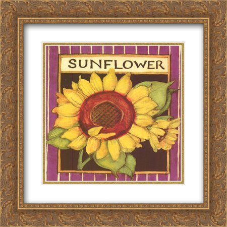 Sunflower Seed Packet 2x Matted 12x12 Gold Ornate Framed Art Print by Susan Winget