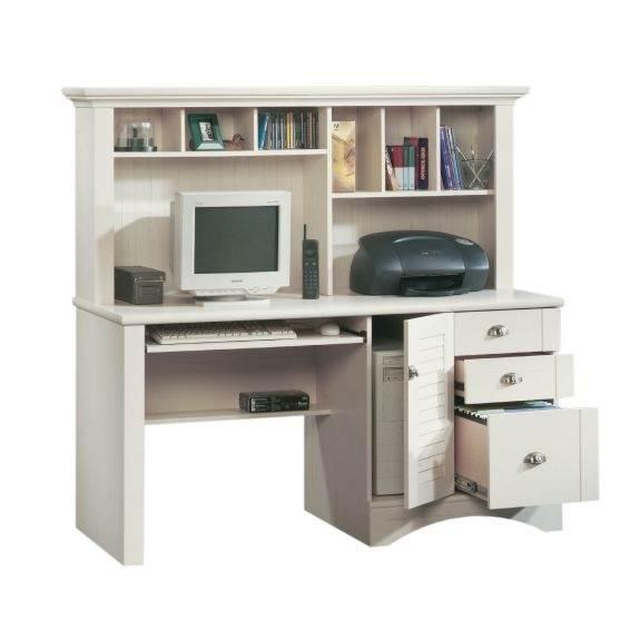 Harbor View Computer Desk W Hutch In Antique White Finish