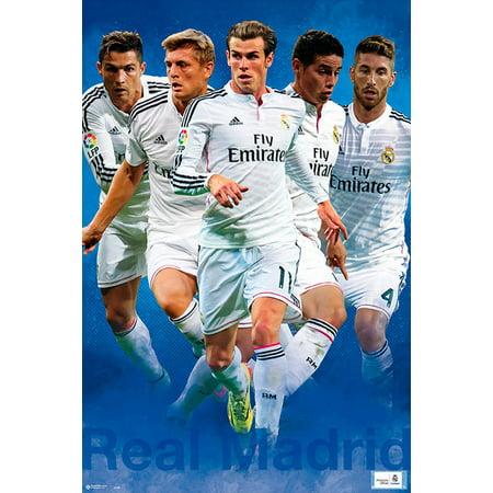 Real Madrid   Sport   Soccer Poster   Print  The Players   Cristiano Ronaldo  Gareth Bale  Sergio Ramos  Toni Kross  Varane     Size  24  X 36