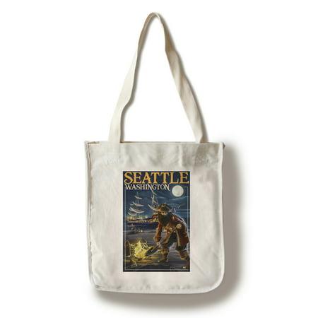 Tote Kid Pirate - Seattle, Washington - Pirate and Treasure - Lantern Press Poster (100% Cotton Tote Bag - Reusable)