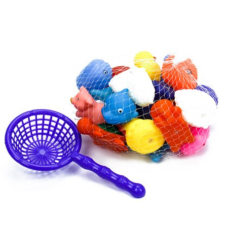 20Pcs Safety Fun  Mini Animals  Squeeze Squeakers and Squirters Rubber Bathtub Toy with Spoon Net During Bath Time Suit for