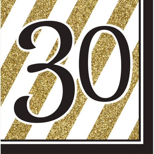 Black and Gold 30th Birthday Napkins, 16pk