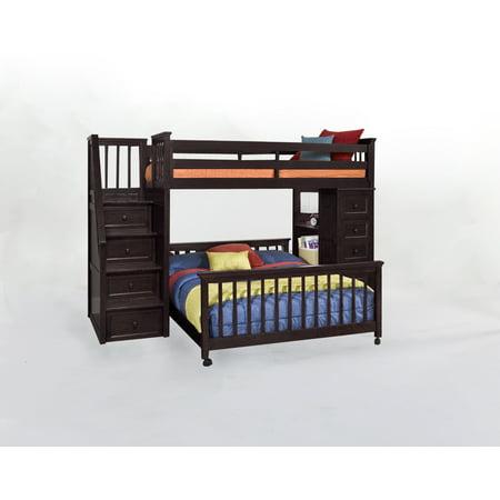 School Twin Stair Loft Desk End Twin Lower Bed Chocolate
