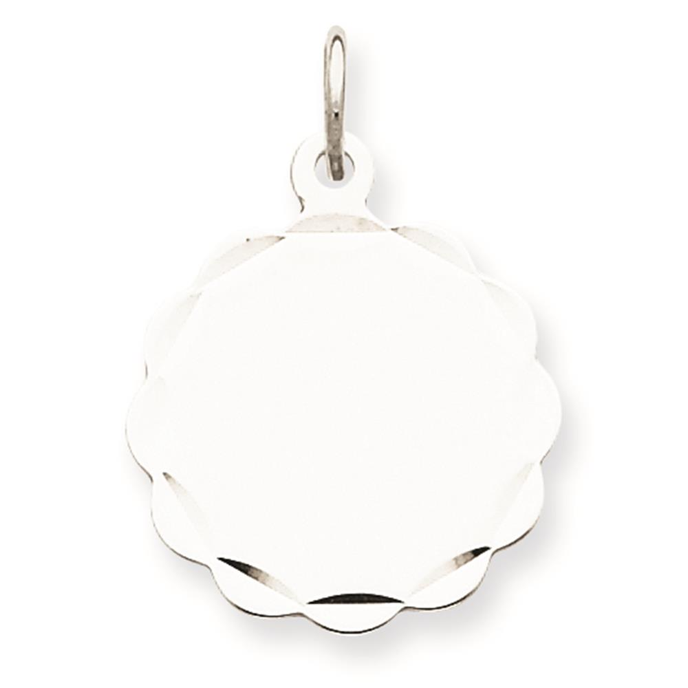 Sterling Silver Engravable Disc Charm Pendant 18mmx15mm