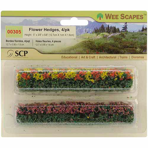 "SCP Flower Hedges, 5"" x 3/8"" x 5/8"", 4/pkg, Green-Blossom Blended"