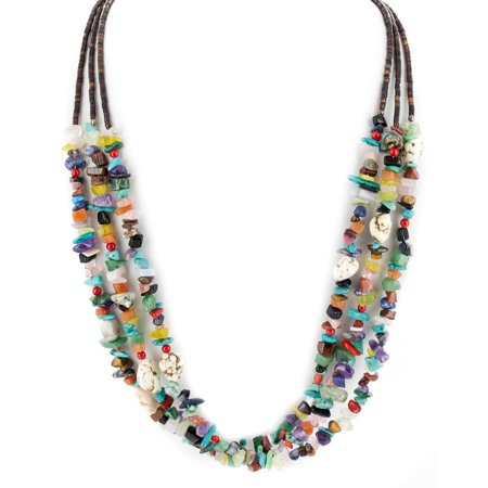 Large $350 Retail Tag 3 Strand Authentic Made by Charlene Little Navajo .925 Sterling Silver Natural Multicolor Stones Native American Necklace