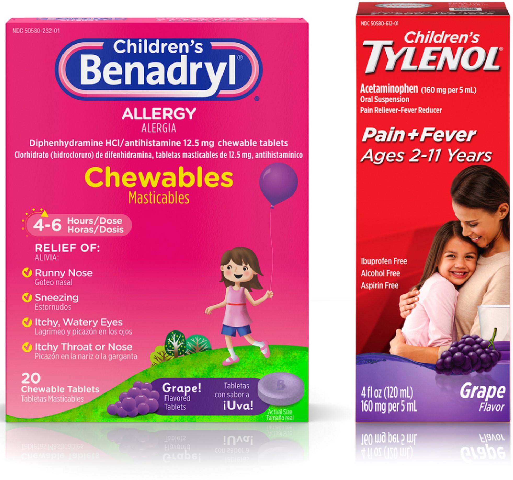 Benadryl Children Allergy Relief Chewables, Grape Flavored 20 ea &  Children's Tylenol Oral Suspension, Fever Reducer &