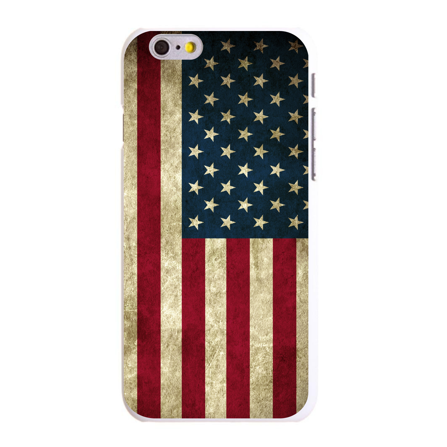 "CUSTOM White Hard Plastic Snap-On Case for Apple iPhone 6 PLUS / 6S PLUS (5.5"" Screen) - Red White Blue United States Flag Old"