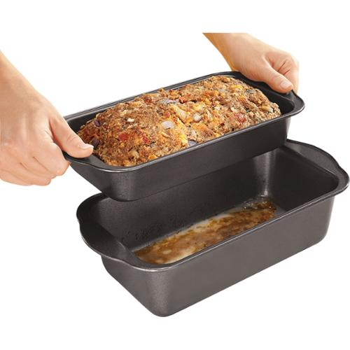 2 Pc. Lowfat Nonstick Meatloaf Pan