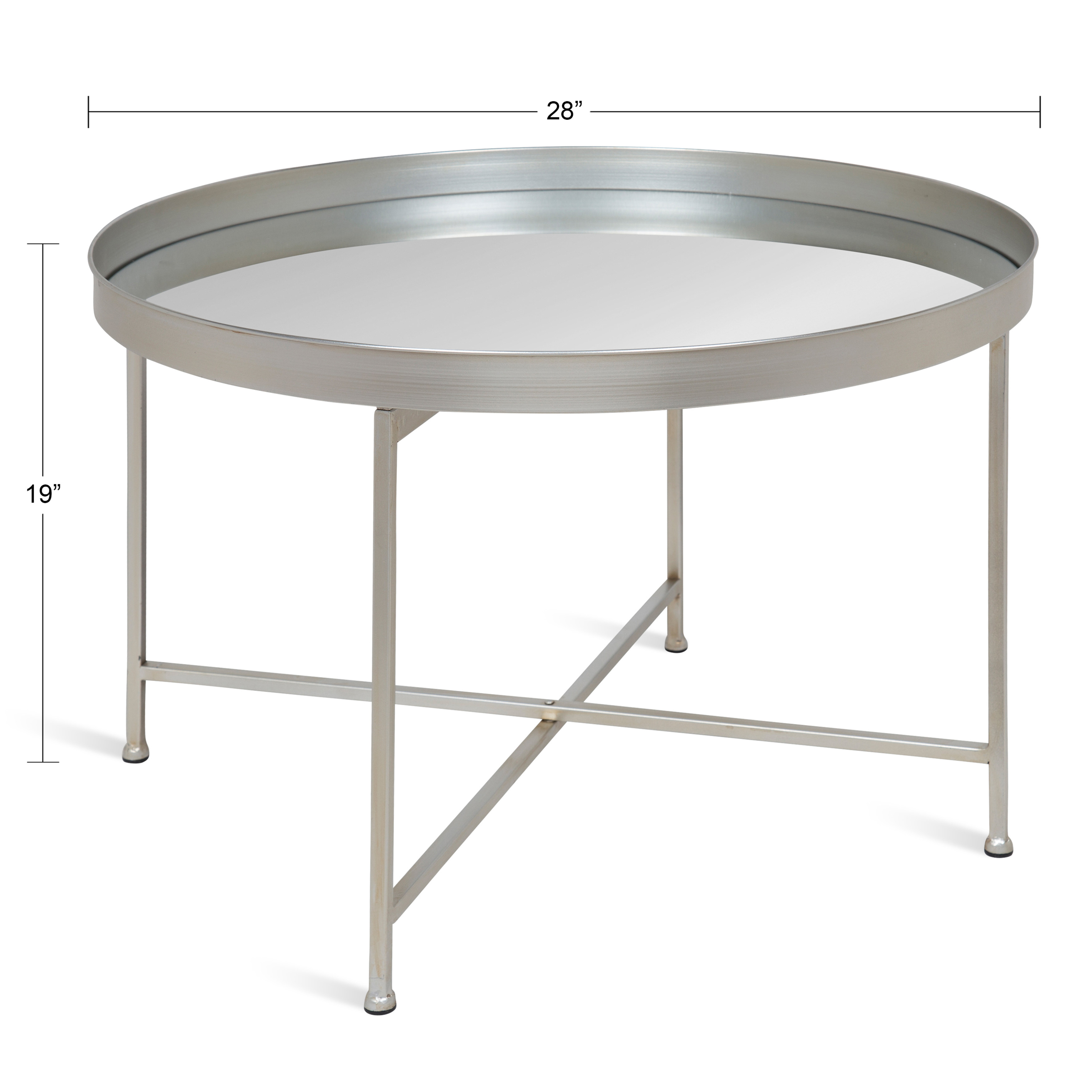 Kate And Laurel Celia Round Metal Foldable Coffee Table With Mirrored Tray Top Silver Walmart Com Walmart Com