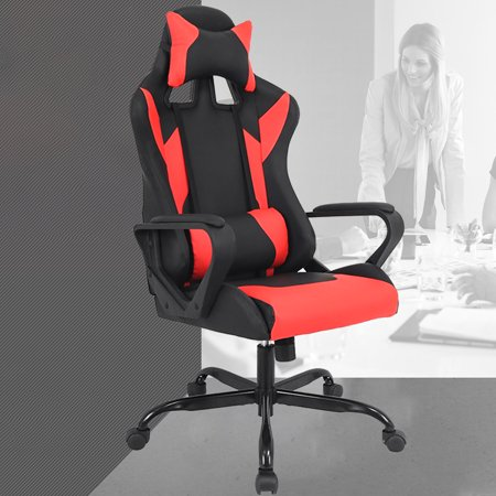 Gaming Chair Racing Chair Office Chair Ergonomic High-Back Leather Chair Reclining Computer Desk Chair Executive Swivel Rolling Chair Lumbar Support For Women, Men(Red) (Swivel Desk Chair Leather)