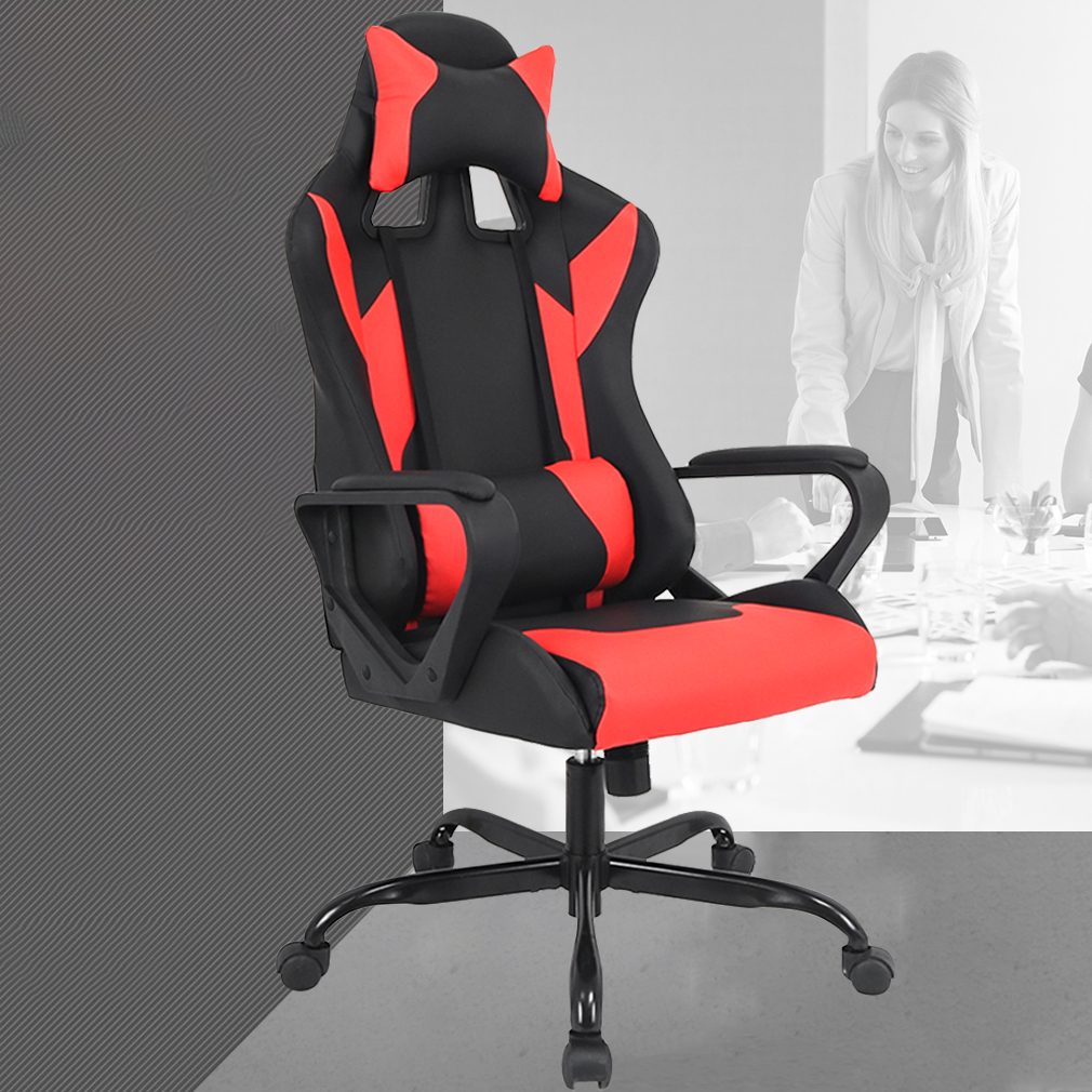 Gaming Chair Racing Chair Office Chair Ergonomic High-Back Leather Chair Reclining Computer Desk Chair Executive Swivel Rolling Chair With Adjustable Arms Lumbar Support For Women, Men(Red)
