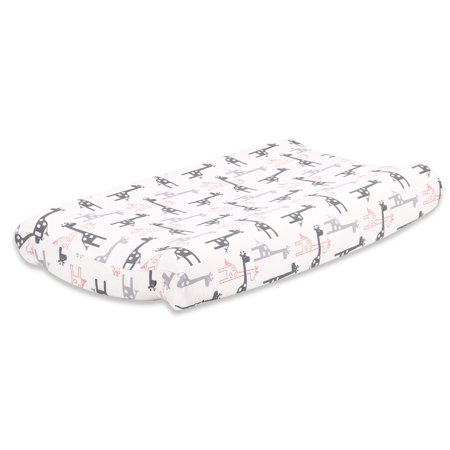 The Peanut Shell Baby Contoured Changing Pad Cover - Uptown Girl Coral and Grey Giraffe Print - 100% Cotton Sateen Fabrics, Fits 32 by 16 Inch (Giraffe Print Cotton)