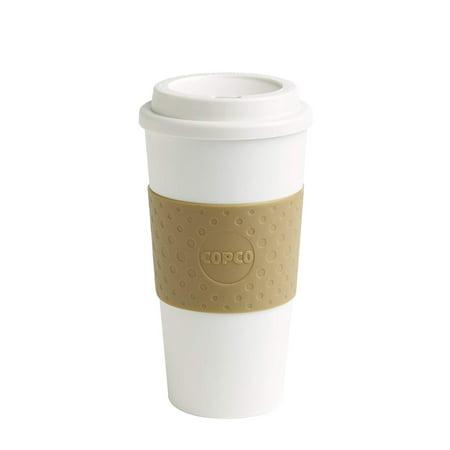 Copco Acadia Slim Bpa Free Plastic Spill Resistant Insulated Portable Traveler Coffee Mug 16 Oz White Tan