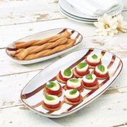 Rose Gold Striped 2-Piece Oval Stoneware Serving Platter