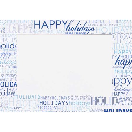 Designer Greetings Blue Happy Holidays Box of 18 Holiday Photo Holder Cards