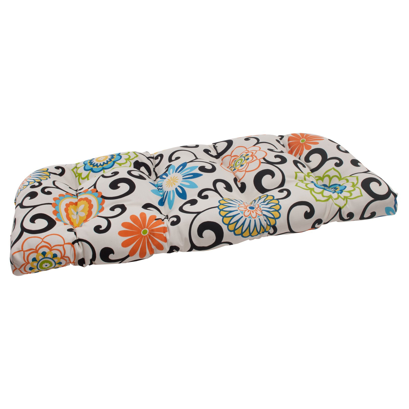 Pillow Perfect Pom Pom Play 44 in. Wicker Loveseat Cushion