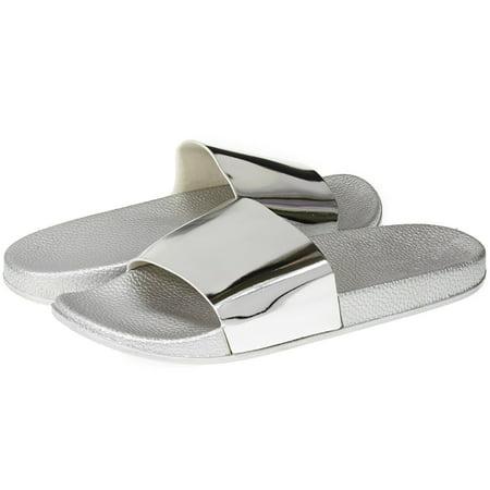 Sara Z Womens Mirror Metallic Soft Slip-On Slide Slippers Casual Lounge Street Fashion Open Toe Flat Sandal Size 7/8 - Sterling Silver Slipper