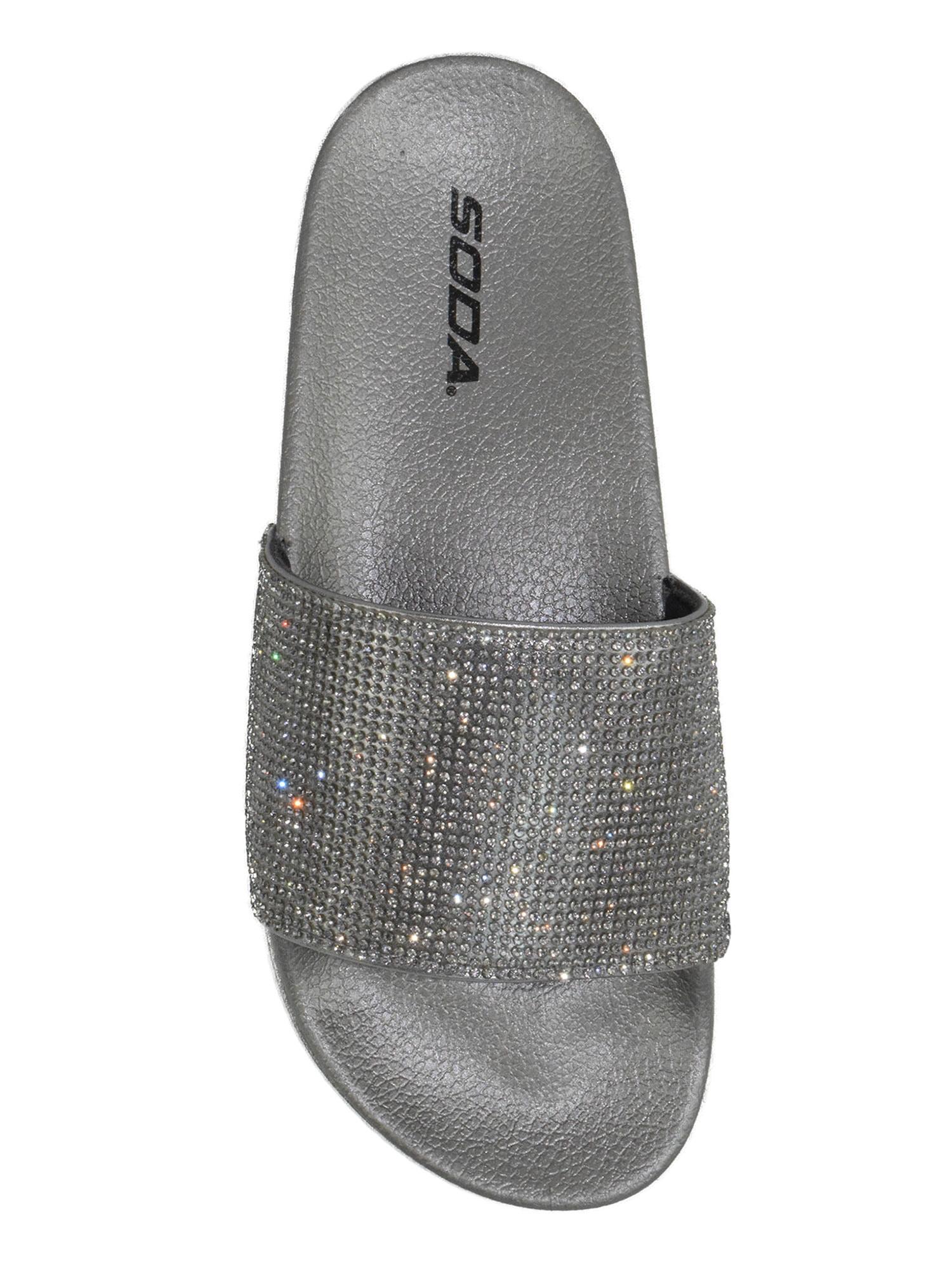 Women/'s Flat Slip On Slides Sandals Rhinestone Embellished Bamboo Dazzling-02