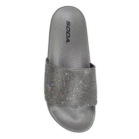 - Sylvia Soda Footbed Shoes Bling Rhinestone Crystal Slides Women Flip Flops Sandals pewter silver