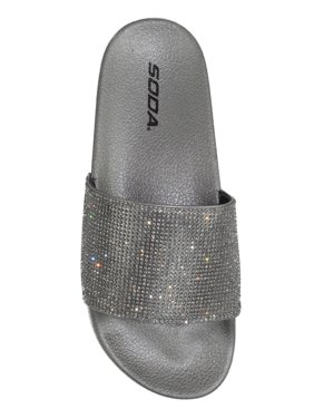 bd2d1b2ca76 Product Image Sylvia Soda Footbed Shoes Bling Rhinestone Crystal Slides  Women Flip Flops Sandals pewter silver