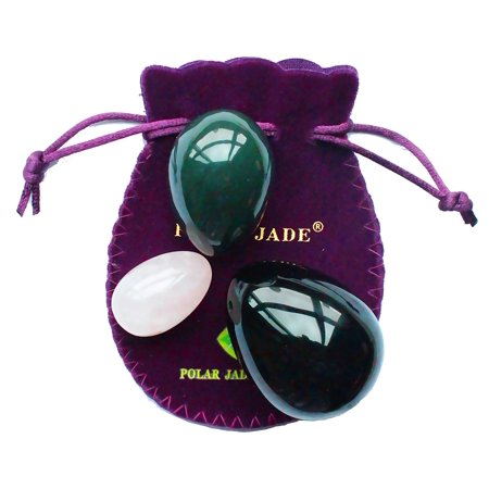 Yoni Eggs 3-pcs Set with 3 Sizes and 3 Gemstones, Drilled, with Unwaxed Thread & Instructions, Made of Nephrite Jade, Rose Quartz and Obsidian, for Kegels Pelvic Florrr Muscles Training, Polar Jade