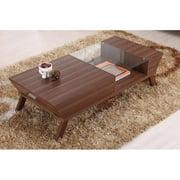 Furniture of America Baxter Modern Glass Top Coffee Table - Medium Wood