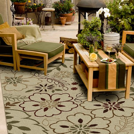 Orian Floral Glory Indoor/Outdoor Area Rug, Bisque - Walmart.com