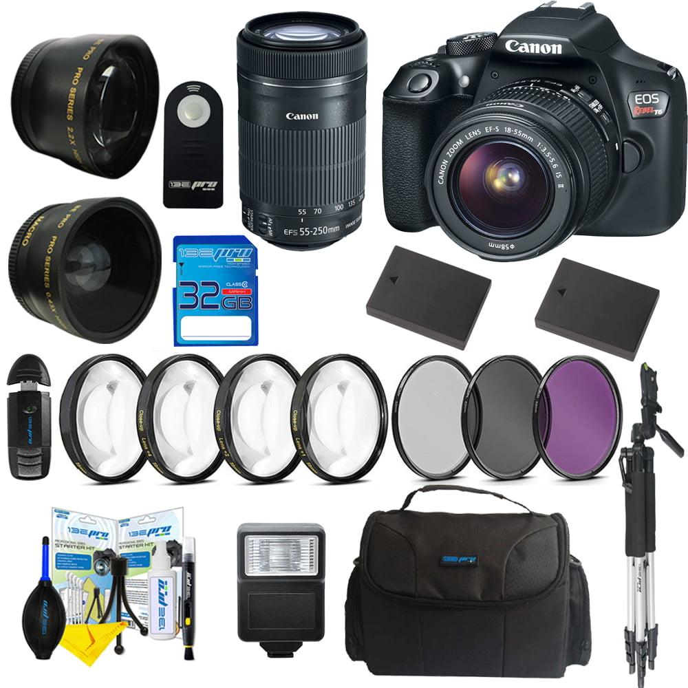 Canon EOS Rebel T6 DSLR Digital Camera + Canon EF-S 55-250mm f/4-5.6 IS STM Lens + 18-55mm EF-Sf/3.5-5.6 IS II Lens + Pixi  Advanced Bundle Kit