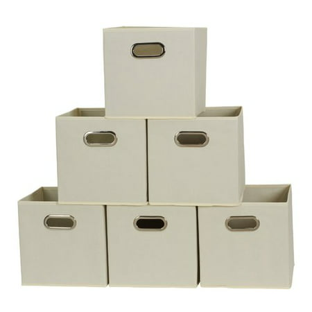 Household Essentials Open Fabric Storage Cube Bins, Set of 6, Natural