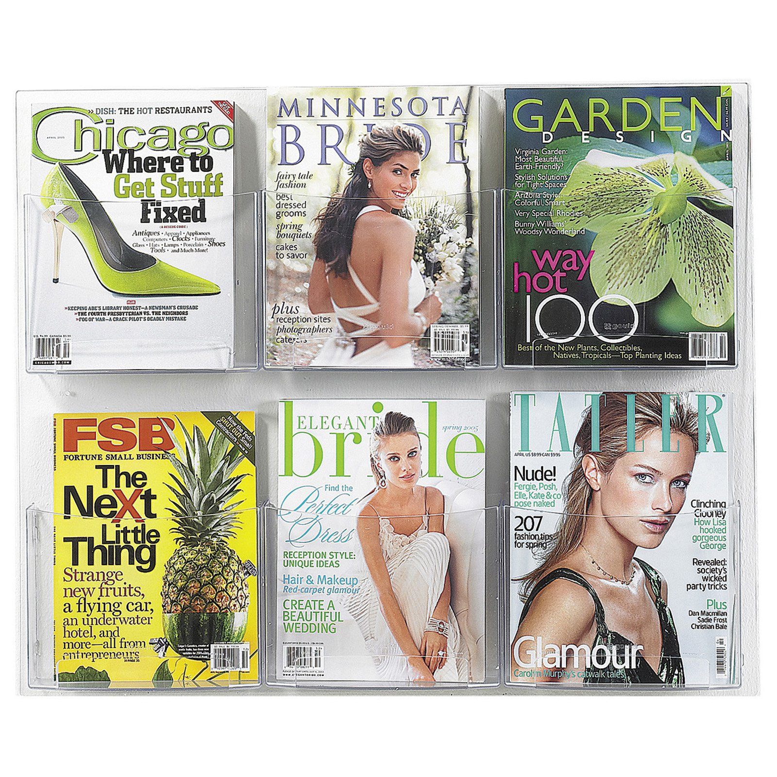 6 Pocket Magazine Display Rack Clear by Safco Products Co