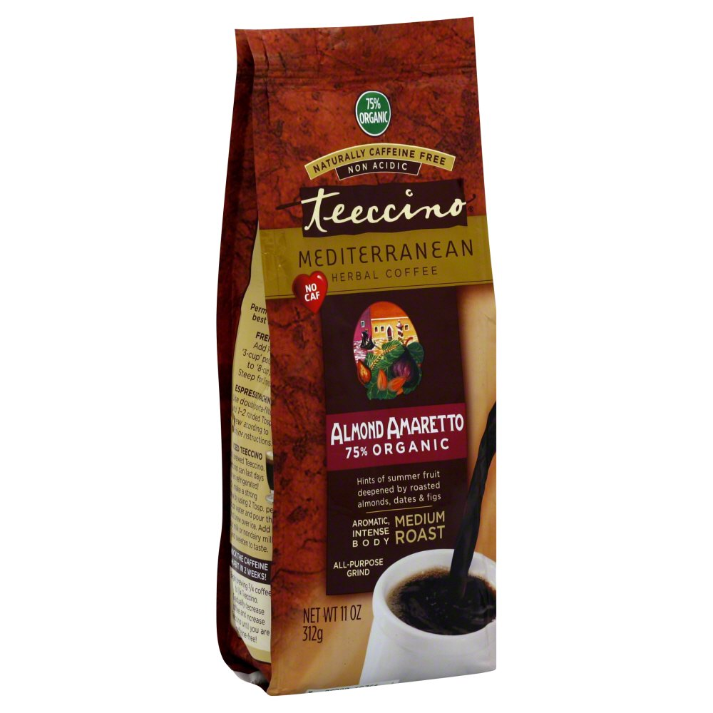 Teeccino Mediterranean Herbal Coffee - Medium Roast - Almond Amaretto - Caffeine Free - 11 Ounce