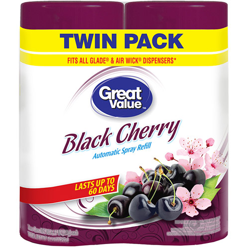 Great Value Black Cherry Automatic Spray Refill, 6.17 oz, (Pack of 2)