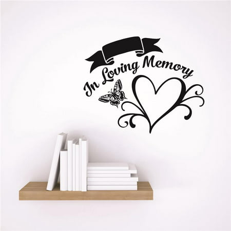 Custom Wall Decal Vinyl Sticker : In Loving Memory Heart Butterfly Design Memorial Remembrance Quote (Loving Memory Wall Cross)