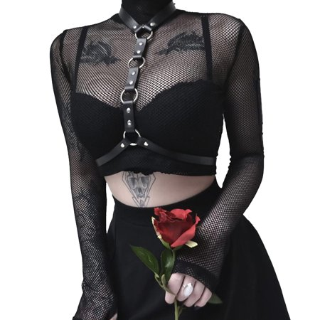 Sexy Women High-Neck Transparent Sheer Mesh Fish Net Long Sleeve See Through Crop Tops Party T-Shirts Blouse Black S