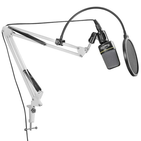 DragonPad Usa White Adjustable Microphone Suspension Boom Scissor Arm Stand, Compact Mic Stand Made of Durable Steel for Radio Broadcasting Studio, Voice-Over Sound Studio, Stages, and TV Stations