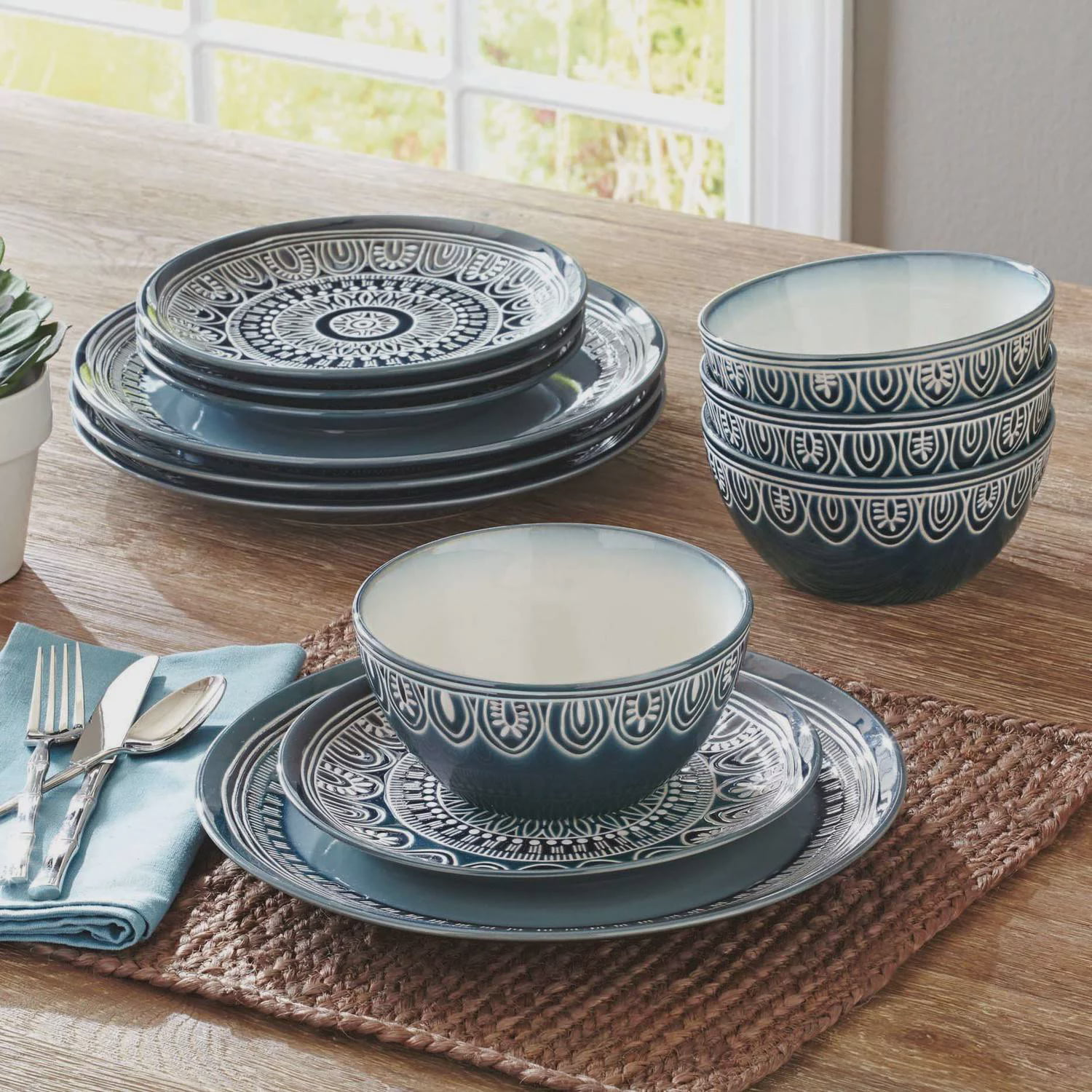 Better Homes and Gardens Teal Medallion 12-Piece Dinnerware Set Teal - Walmart.com & Better Homes and Gardens Teal Medallion 12-Piece Dinnerware Set ...